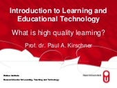 Introduction to learning and educational technology/ Paul Kirschner
