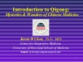 Introduction to qigong -- mysteries...