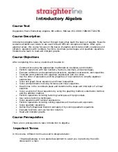 Introductory Algebra Syllabus