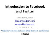 Introduction to Facebook and Twitter