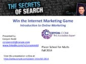 Introduction to Online Marketing - Fall 2014 for Placer School for Adults