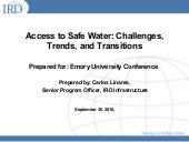 Carlos Linares: Presentation on safe water at IRD event at Emory University