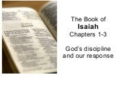 Isaiah 1 3, Gods Discipline And Our...