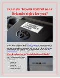 Is a new Toyota Hybrid near Orlando right for you?