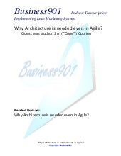 Is Lean Architecture needed in Agile