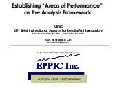 Establishing Areas of Performance