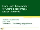 From Open Government to Online Enga...