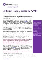 Indirect Tax Update 32/2014