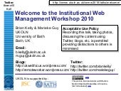 Welcome to IWMW 2010