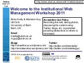 Welcome to IWMW 2011