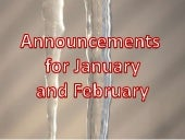 January 2013 announcements