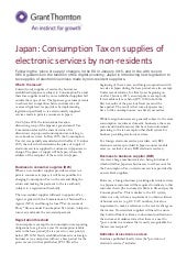 Japan: Consumption Tax on supplies of electronic services by non-residents