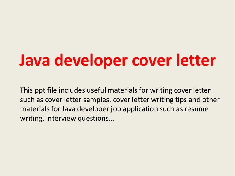 Java developer cover letter