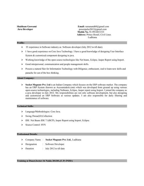 java programmer resume ~ Yangoo.org