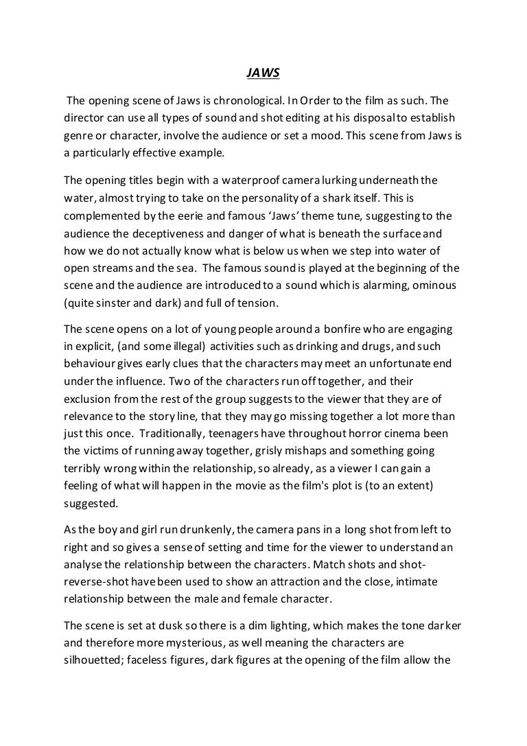 jaws essay jaws essay university media studies marked by teachers essay on jaws opening of the film essay by cleo coogan