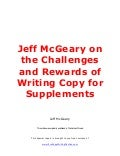 Jeff mc geary on the challenges and rewards of writing copy for supplements