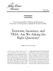 Terrorism, Insurance & TRIA: Are we...