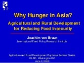 Why Hunger in Asia? Agricultural an...