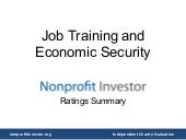 Job Training and Economic Security - Nonprofit Investor Ratings Summary