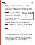 Developing Leadership to Manage Growth in Manufacturing