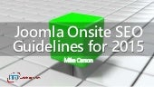 Joomla Onsite SEO Guidelines for 2015