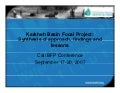 Karkheh Basin Focal Project:Synthesis of approach, findings and lessons