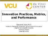 Innovation Practices, Metrics and P...