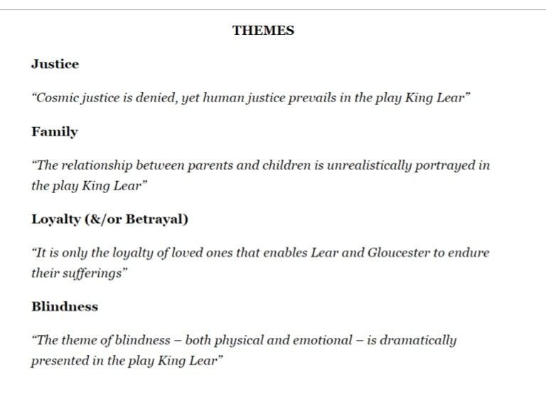 king lear essay themes   essay topicsking lear essay themes