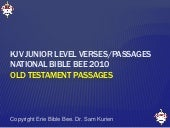 KJV Junior Level OT Bible Bee Passages