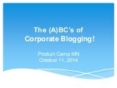 The ABC's of Corporate Blogging