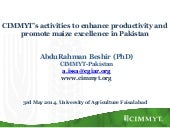 CIMMYT's activities to enhance productivity and promote excellence in Pakistan