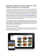 Knowing the Difference between Responsive design, Mobile-Friendly Design and a Mobile Site