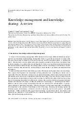 Knowledge management and knowledge ...