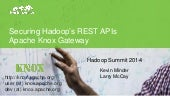 Securing Hadoop's REST APIs with Apache Knox Gateway Hadoop Summit June 6th, 2014