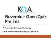 KQA November Open Quiz 2013 Prelims...