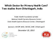 Which doctors for primary health ca...