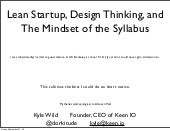 Lean Startup, Design Thinking, and The Mindset of the Syllabus