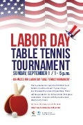Labor Day Table Tennis Tournament