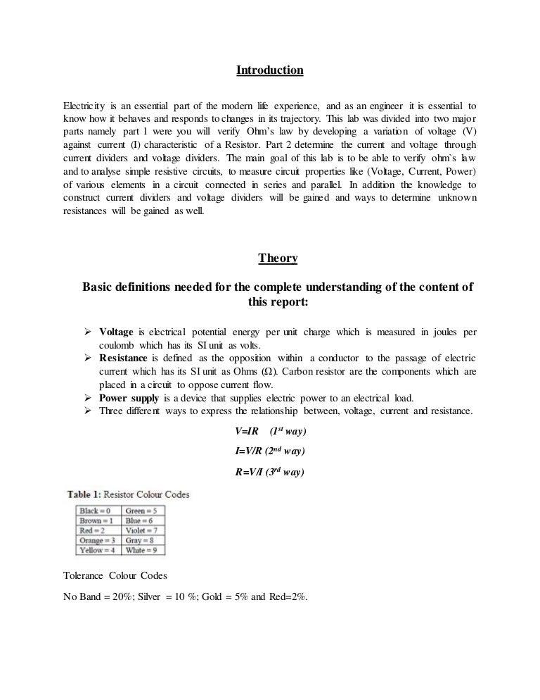 Chemistry lab report format sample