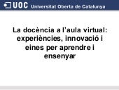 La docència a l'aula virtual cat