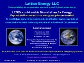 Lattice Energy LLC - LENRs Could Enable a Moores Law for Energy - Nov 19 2014