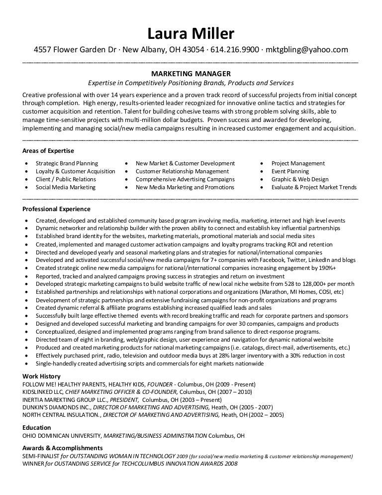 sample resume marketing manager