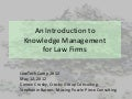 Law Firm Knowledge Management, An Introduction