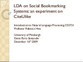 LDA on social bookmarking systems