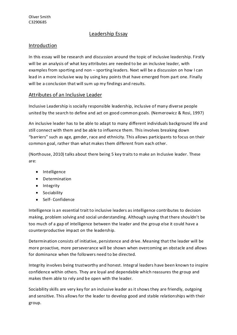 Sample Essay On Leadership Skills Example Of Essay About Yourself