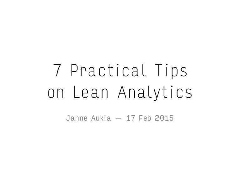 Lean Analytics Summary Tips on Lean Analytics