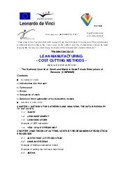 Lean Manufacturing   Cost Cutting M...