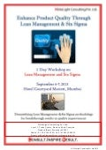 Lean mgmt and six sigma workshop 6 7 sept 2013 Mumbai