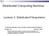 Distributed file systems (from Google)