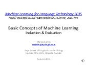 Lecture 3: Basic Concepts of Machine Learning - Induction & Evaluation